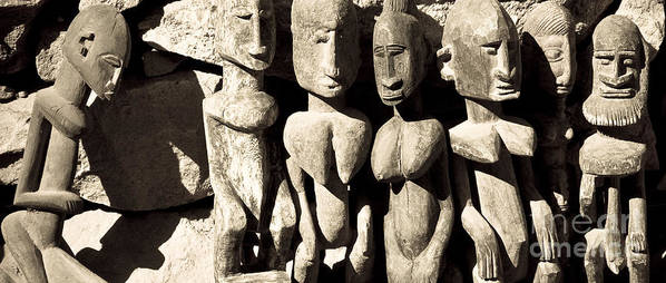 Wood Poster featuring the photograph Wooden African Figures by Nicole Neuefeind