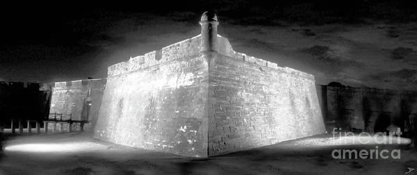 Artwork Of A Ghostly Night At The Castillo De San Marcos In Saint Augustine Florida. This Old Spanish Fort Was Built In The Early 1700s Poster featuring the painting Night At The Castillo by David Lee Thompson