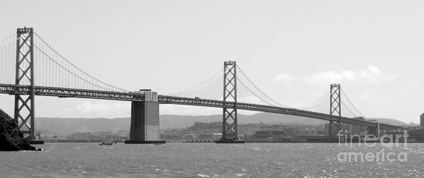 San Francisco Poster featuring the photograph Bay Bridge In Black And White by Carol Groenen