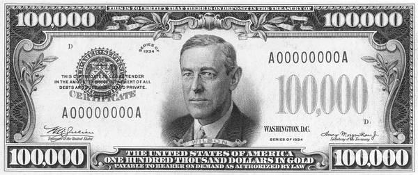 100枚の写真を掲載したポスター通貨:グレンジャーによる100,000ドルのビル