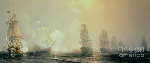 Boat Poster featuring the painting Naval Battle In Chesapeake Bay by Jean Antoine Theodore Gudin