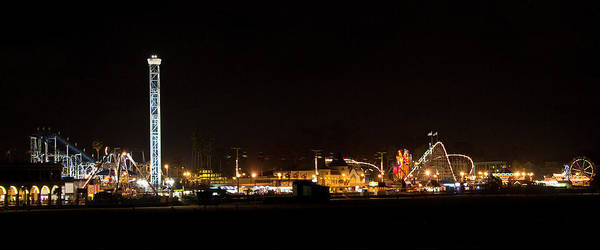 Santa Poster featuring the photograph Santa Cruz Boardwalk By Night by Brendan Reals