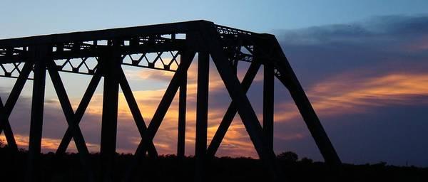 Bridge Poster featuring the photograph Train Bridge Sunset by Ana Villaronga