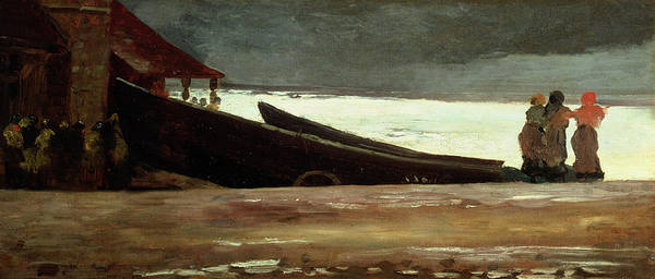 Boat Poster featuring the painting Watching A Storm On The English Coast by Winslow Homer