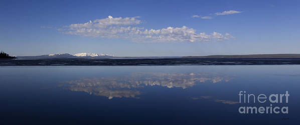 Yellowstone Lake Poster featuring the photograph Yellowstone Lake Reflection-signed-no Bird by J L Woody Wooden
