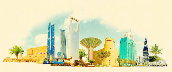 Gouache Poster featuring the digital art Water Color Illustration Riyadh City by Trentemoller