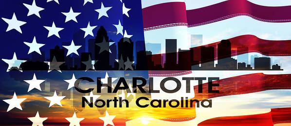 City Silhouette Poster featuring the mixed media Charlotte Nc Patriotic Large Cityscape by Angelina Vick