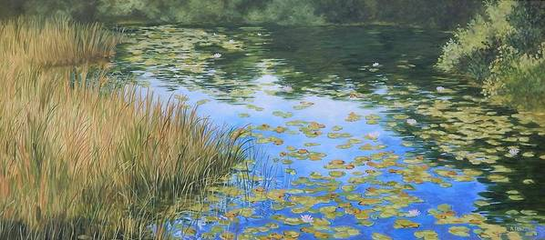 Still Water Reflections Poster featuring the painting Clouds In The Pond by Anna Lowther