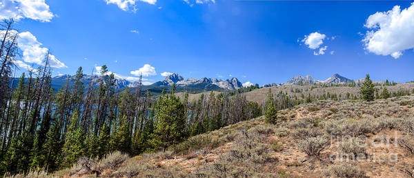 Rocky Mountains Poster featuring the photograph Panoramic Sawtooth Range And Little Redfish Lake by Robert Bales
