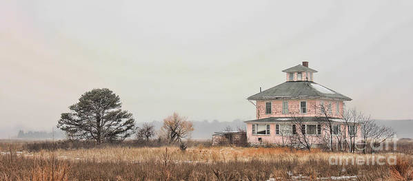 House Poster featuring the photograph Pink House On The Marsh by K Hines