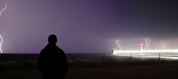 Lightning Poster featuring the photograph Watching A Lightning Storm by Jeramie Curtice
