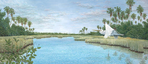 Egret Poster featuring the painting Nature Coast by Kevin Brant
