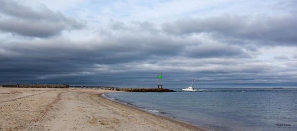 Sand Poster featuring the photograph Stormy Evening Bass River Jetty Cape Cod by Michelle Wiarda