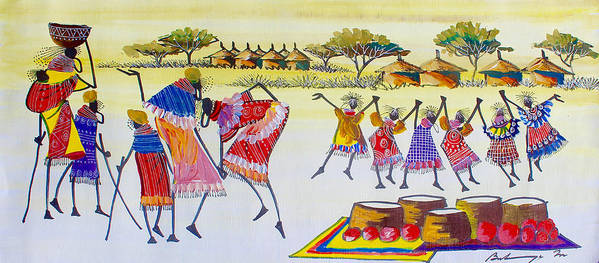 True African Art Poster featuring the painting B 350 by Martin Bulinya