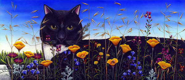 Black And Whitetuxedo Cat Poster featuring the painting Cat In Flower Field by Carol Wilson