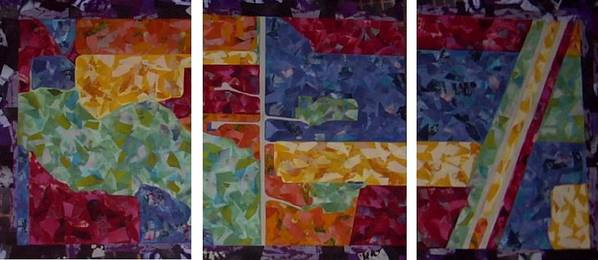 Textile Map Arial Colorful Collage Poster featuring the painting Cedar Grove Arial Map by Sally Van Driest