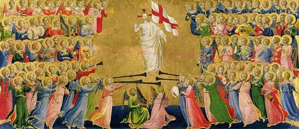 Altarpiece; Heaven; Angels; Concert; Music; Instruments; Trumpet; St. Michael; Halo; Archangel; Renaissance; Banner; Jesus; Fra Poster featuring the painting Christ Glorified In The Court Of Heaven by Fra Angelico