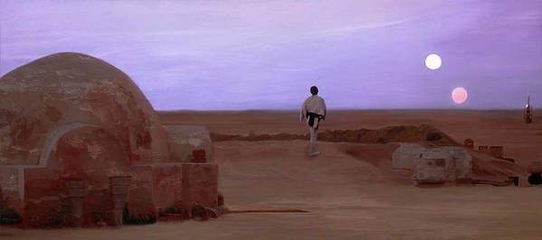 Tatooine Poster featuring the mixed media Luke Skywalker Tatooine Sunset by Mitch Boyce