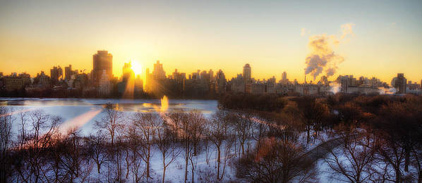 Nyc Poster featuring the photograph Ny Winter Panaroma by Ariane Moshayedi