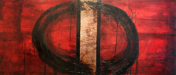 Abstract Poster featuring the painting Red Circle Of Life by Ellen Beauregard
