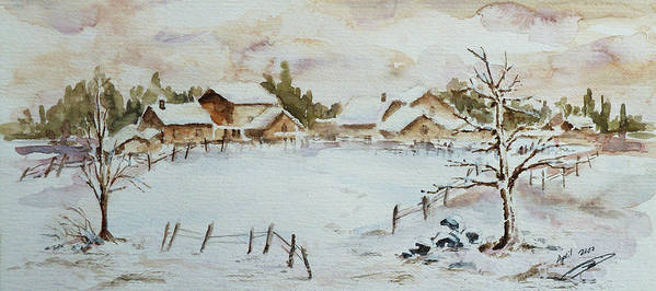 Winter Poster featuring the painting Snowy Village by Xueling Zou