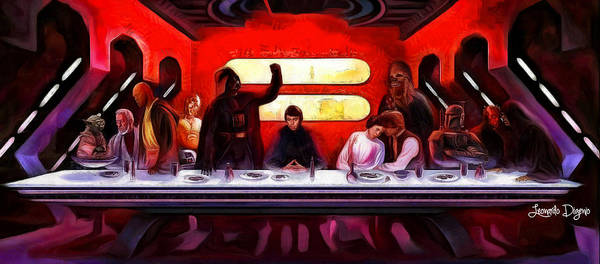 Apostles Poster featuring the painting Star Wars Last Supper by Leonardo Digenio