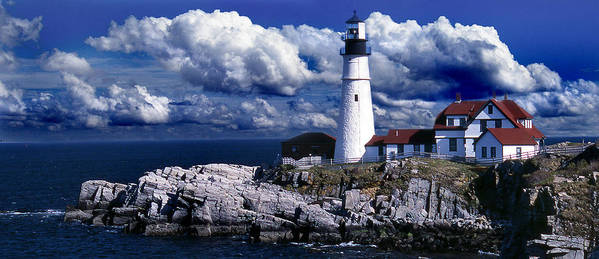 Maine Lighthouses Poster featuring the photograph The Front At Portland Head by Skip Willits