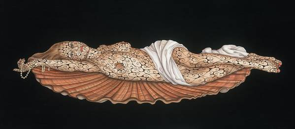 Contemporary Poster featuring the painting Venus On The Half-shell by Tina Blondell
