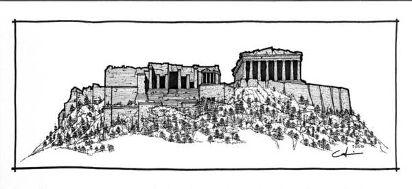 Sketch Poster featuring the drawing Acropolis Of Athens by Calvin Durham