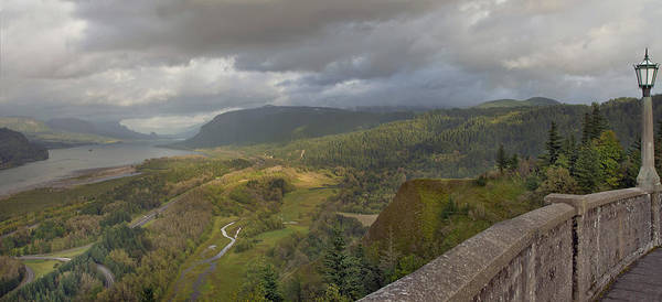 Columbia Poster featuring the photograph Columbia River Gorge View From Crown Point by Jit Lim