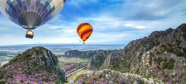 Agriculture Poster featuring the photograph Lanscape Of Mountain And Balloon by Anek Suwannaphoom