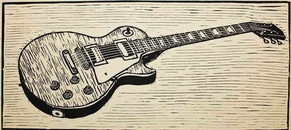 Les Paul Poster featuring the drawing Les Paul by William Cauthern