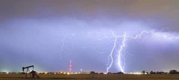 Lightning Poster featuring the photograph Oil Well Pumpjack Thunderstorm Panorama by James BO Insogna