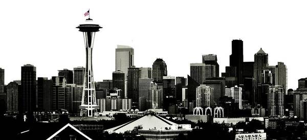 Seattle Poster featuring the photograph Patriotic Seattle by Benjamin Yeager