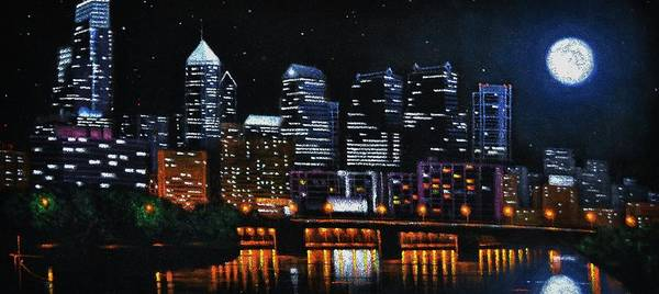 Philadelphia Skyline Poster featuring the painting Phillie by Thomas Kolendra