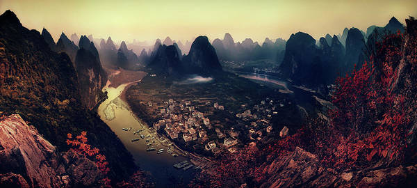 Panorama Poster featuring the photograph The Karst Mountains Of Guangxi by Clemens Geiger