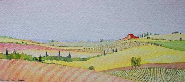 Watercolor Poster featuring the painting Tuscan Hillside Three by Mary Ellen Mueller Legault