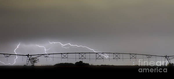 Agricultural Poster featuring the photograph Agricultural Irrigation Lightning Bolts by James BO Insogna