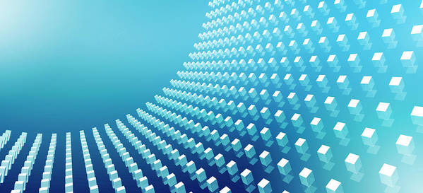 Horizontal Poster featuring the digital art Blue Abstract Cubes In A Curve by Ralf Hiemisch