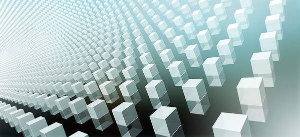 Horizontal Poster featuring the digital art Close-up Of Cubes On Black And Blue by Ralf Hiemisch