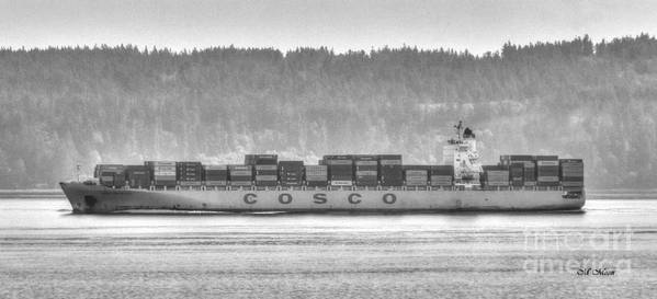Black And White Poster featuring the photograph Cosco Cargo Ship by Tap On Photo