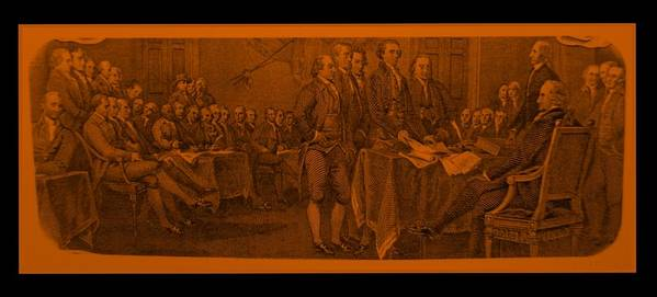 Declaration Of Independence Poster featuring the photograph Declaration Of Independence In Orange by Rob Hans