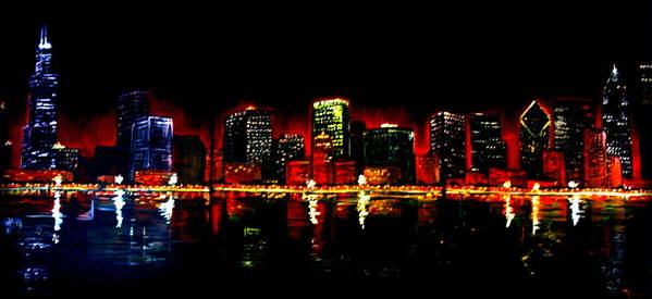 Cityscape Poster featuring the painting Lake Shore Drive by Melissa Wiater Chaney