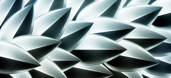Horizontal Poster featuring the digital art Metallic Feathers, Full Frame by Ralf Hiemisch