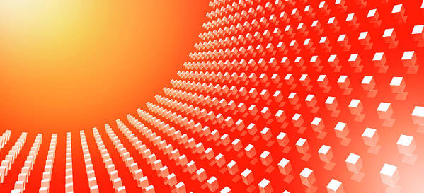 Horizontal Poster featuring the digital art Orange Abstract Cubes In A Curve by Ralf Hiemisch