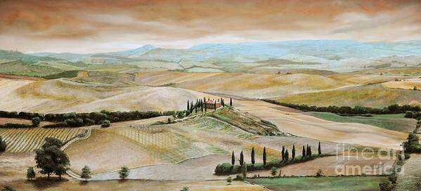 Italian Landscape; Tuscan; Hills; Countryside; Villa; Rural; Agricultural; Farmland; Tuscan Landscape; Hillside; Italy; Belvedere; Tuscany; Tree; Trees Poster featuring the painting Belvedere - Tuscany by Trevor Neal