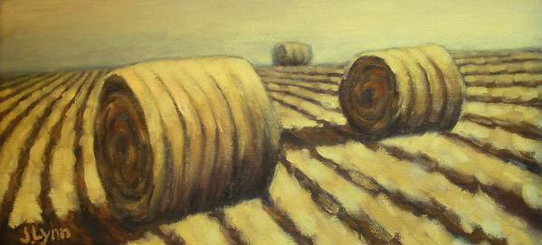 Art Sale Poster featuring the painting Haybales by Jaylynn Johnson