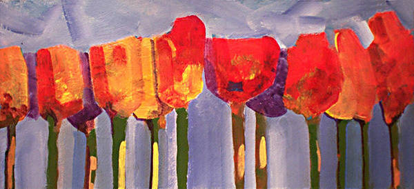 Floural Poster featuring the painting Morning Tulips by Dalas Klein