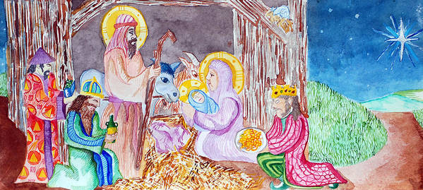 Christ Poster featuring the painting Nativity by Jame Hayes