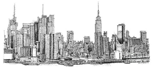 new york skyline in ink poster by adendorff design. Black Bedroom Furniture Sets. Home Design Ideas